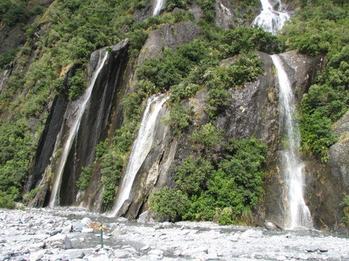 Waterfalls at Franz Josef Glacier